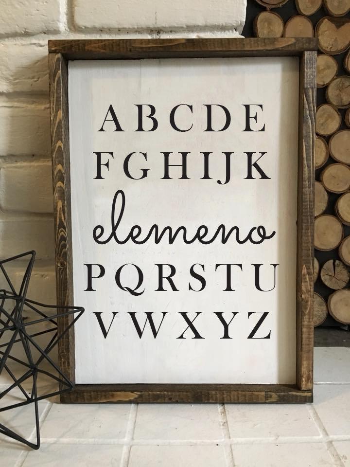 Elemeno   Wood Sign 00235