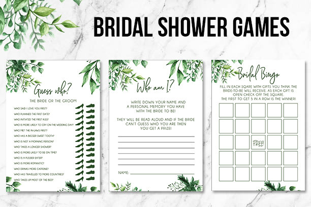 Green Foliage   Bridal Shower Games   Printable Good 00238