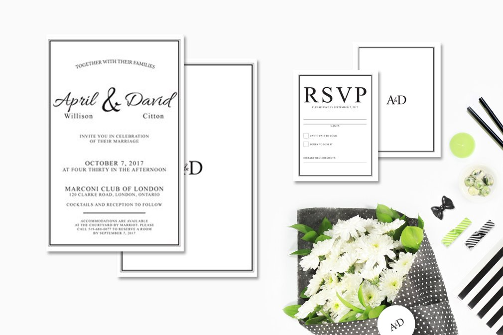 Black & White Classic Invitations 00245