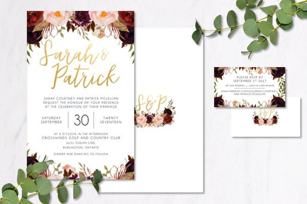 Burgundy Floral Invitations 00246
