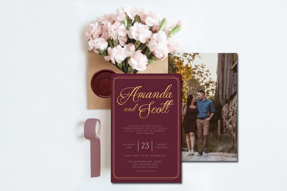 Burgundy Gold Invitations 00247