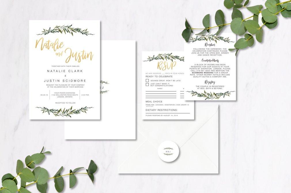 Eucalyptus & Gold Invitations 00248