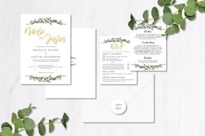 Eucalyptus & Gold Invitations