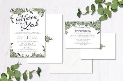 Navy & Eucalyptus Invitations