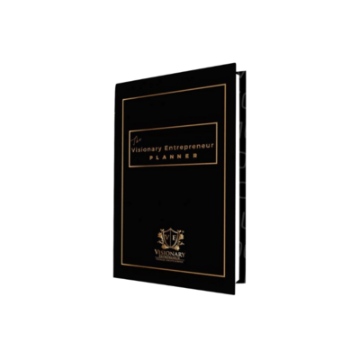 (PRE-ORDER) The Visionary Entrepreneur Planner © 2020 Edition - Black -  Undated Monthly & Weekly Calendars| Goals | Vision | Expenses | Journal | Quotes
