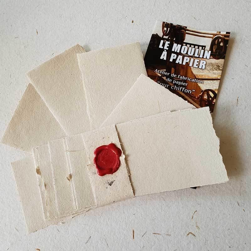 Lot 20 cartes de visite | Papier Pur Chiffon | Moulin de Sainte-Suzanne