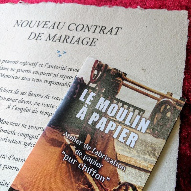 Nouveau contrat de mariage - Moulin à Papier de Sainte-Suzanne