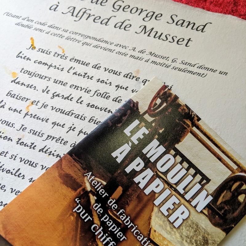 Lettre de George Sand - Moulin à Papier de Sainte-Suzanne