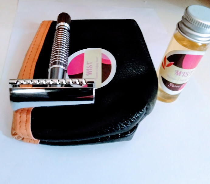 MIST UNISEX SAFETY RAZOR. DESIGNED FOR WOMEN BUT ALSO USED BY MEN.