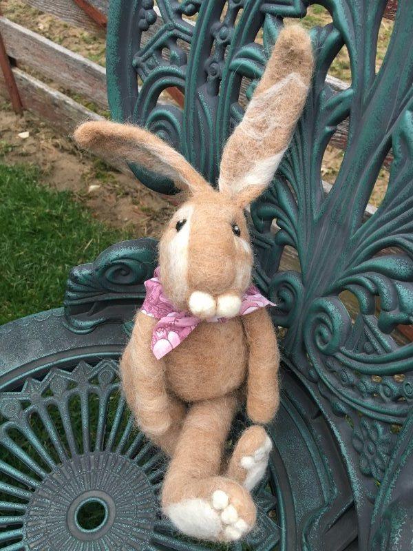 Needle Felted Tan Rabbit 18376