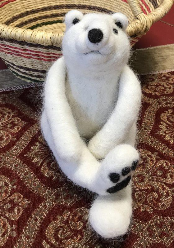 Needle Felted Polar Bear 18382