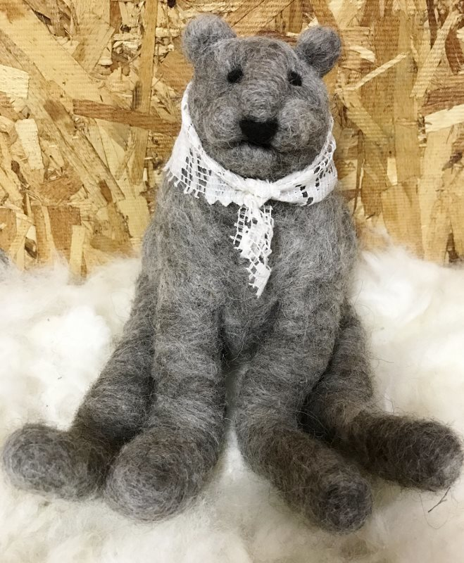 Needle Felted Grey Bear with Lace Scarf 18383