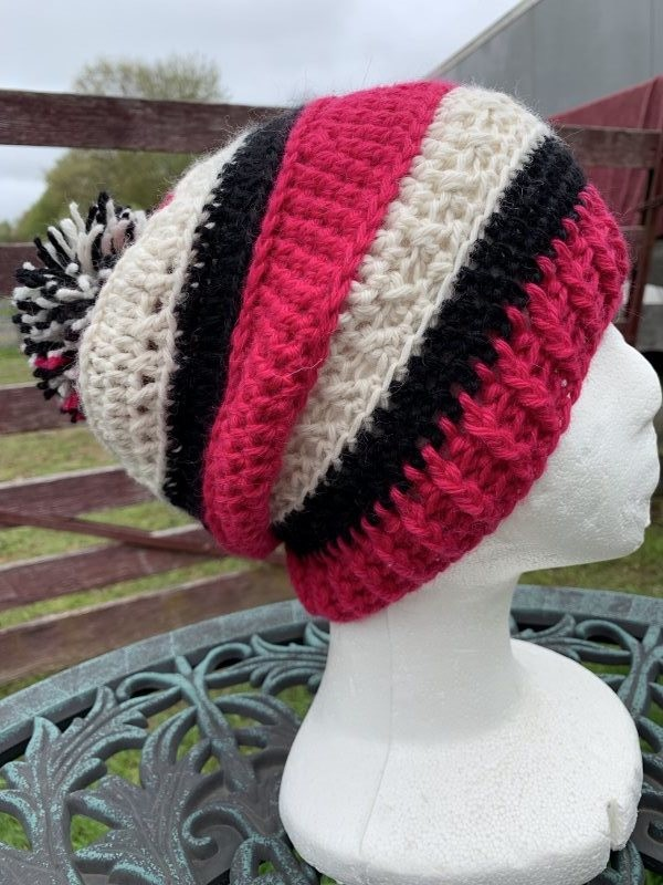 Striped Slouch Alpaca Hat