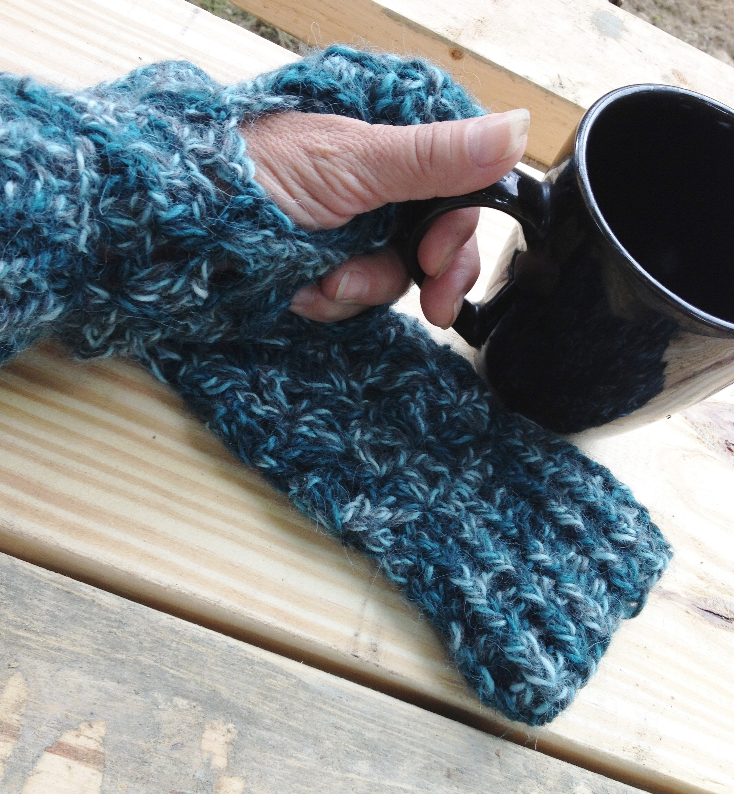 Alpaca Fingerless Gloves - Totally Teal 17631