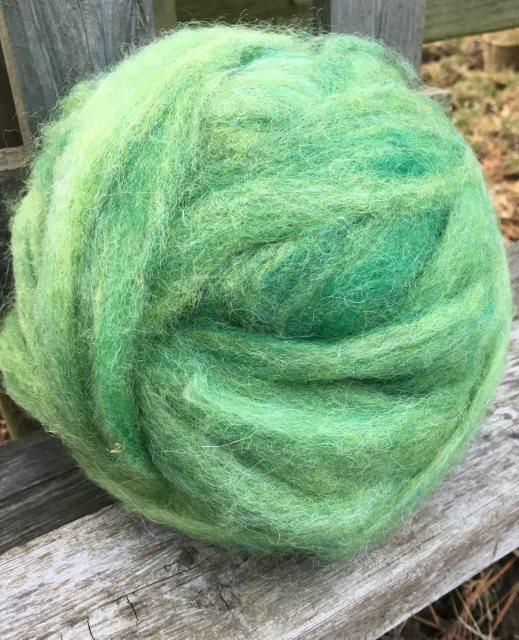 Alpaca Wool Roving - Grass Green 18055