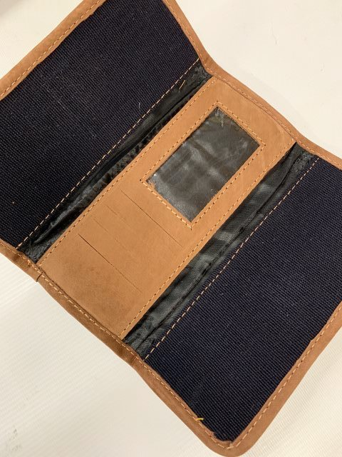 Handwoven and Leather Tri-Fold Wallet