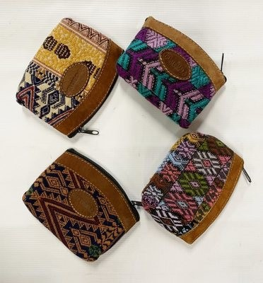 Handwoven and Leather Coin Purse