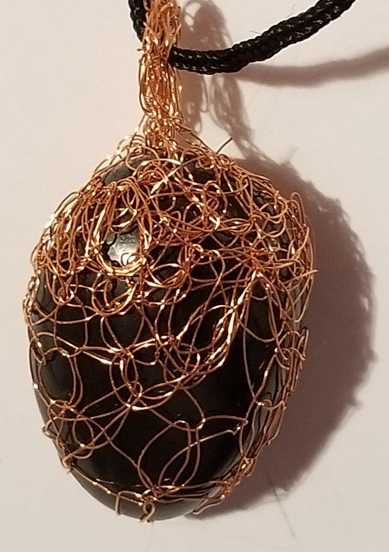 EMF Protection Shungite Pendant – Polished - Copper wire