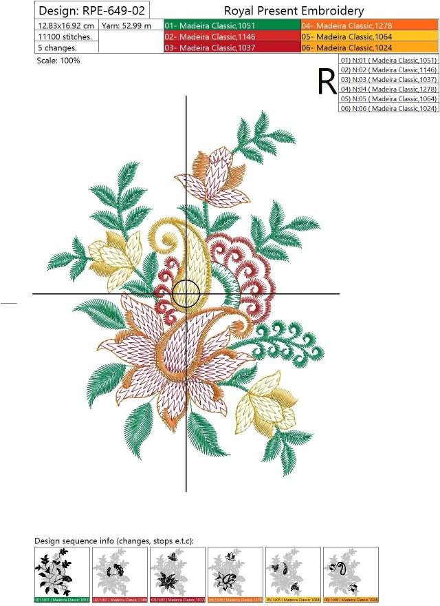 Machine Embroidery Design Indian flowers - 2 sizes