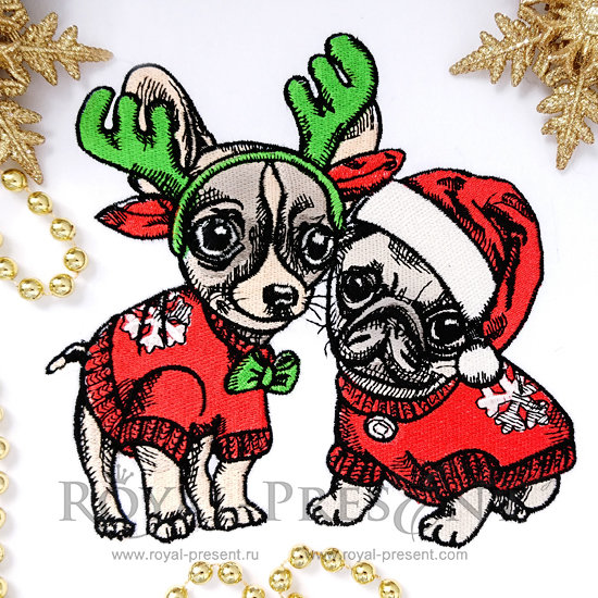 Machine Embroidery Design Christmas Puppies Pug and Chihuahua - 2 sizes FRP-005