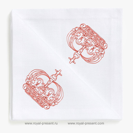 Red work King Crown Machine Embroidery Design RDL-007-02