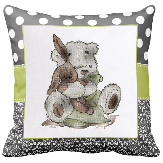 Teddy-Bear Cross-Stitch Machine Embroidery Design - 2 sizes RPE-1283