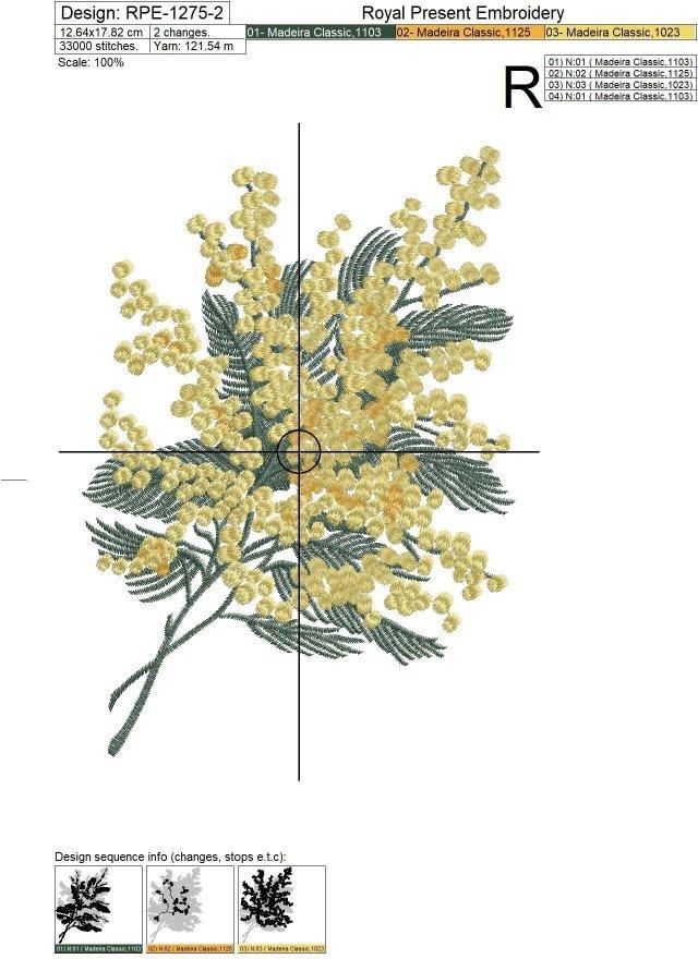 Mimosa Machine Embroidery Design - 2 sizes