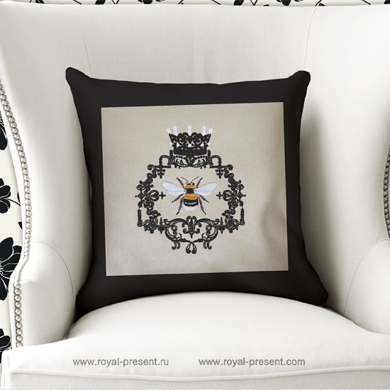 Queen Bee machine embroidery design - 3 sizes RPE-1279
