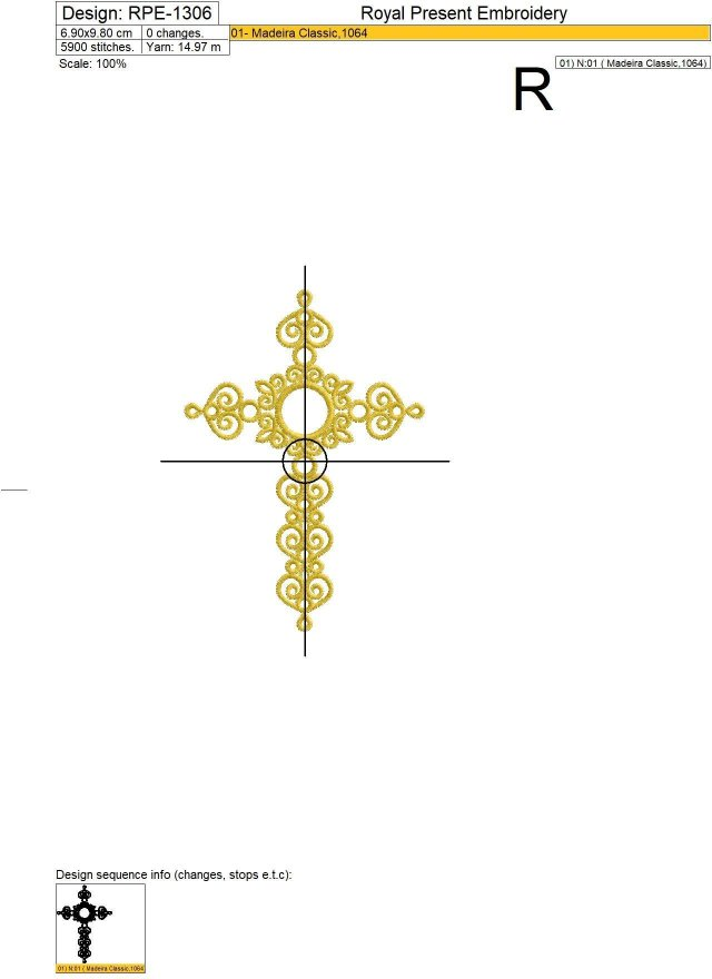 Machine embroidery design Christian Cross with Crystal