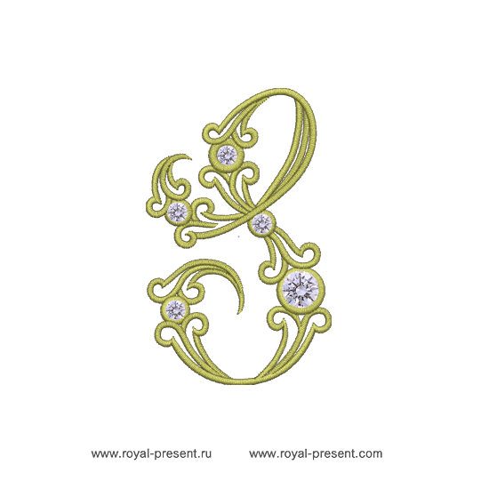 Machine Embroidery Design Vintage letter S RPE-1310