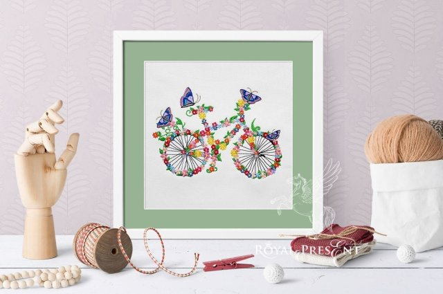 Flower bicycle Machine Embroidery Design - 5 sizes