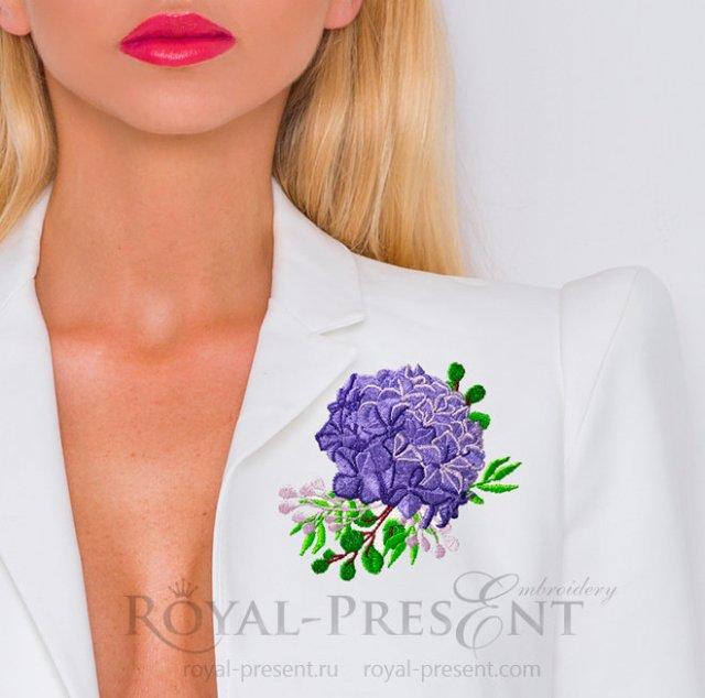 Hydrangea bouquet Machine Embroidery Design - 3 sizes RPE-1404