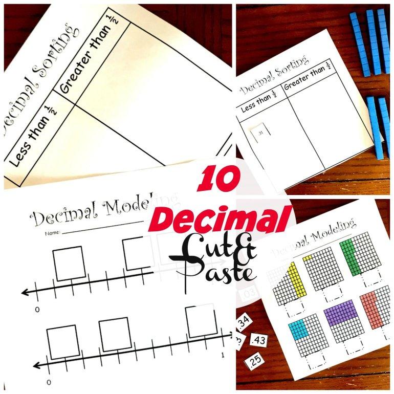 10 Decimal Cut and Paste Worksheets 00031