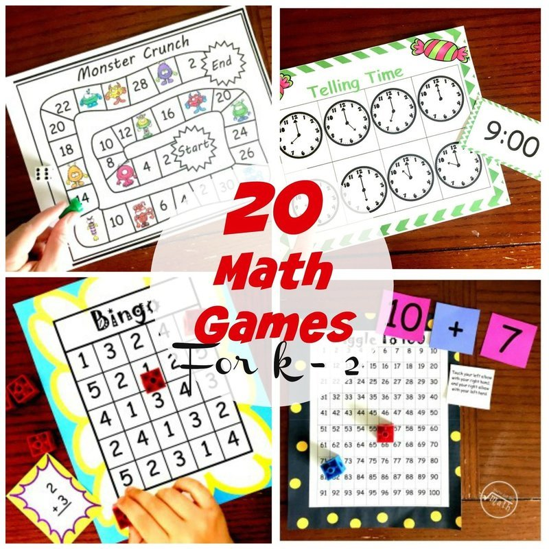 20 Math Games for K - 2 Grade