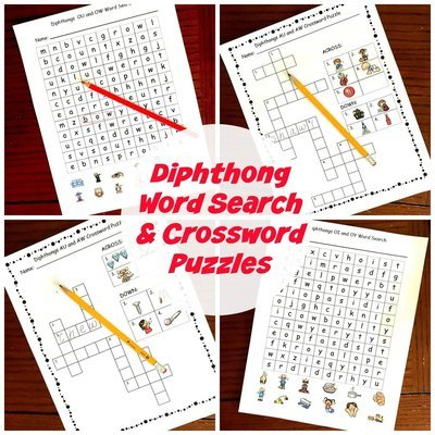 Diphthong Word Searches and Crossword Puzzles