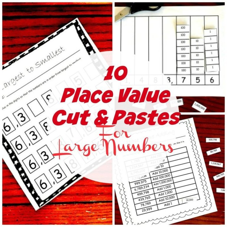 10 Cut and Paste Activities To Learn About Place Value for Large Numbers