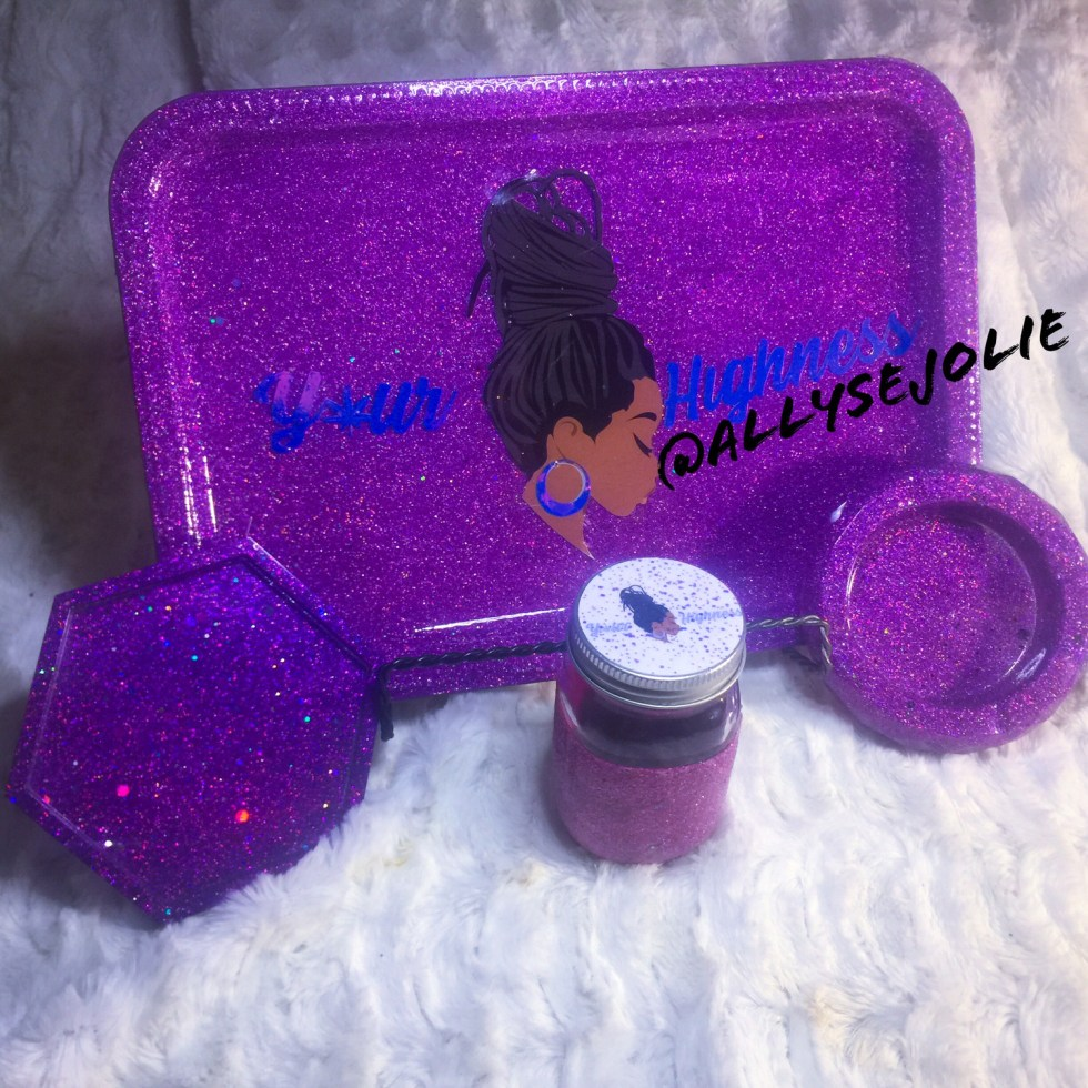 Your Highness Purple Glitter Rolling /Vanity Tray Set