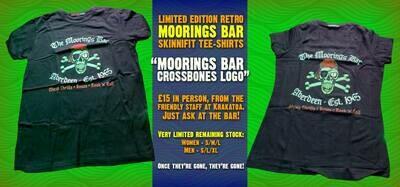 Moorings Bar Retro Mens T Shirt / Tee - Skull And Crossbones Logo