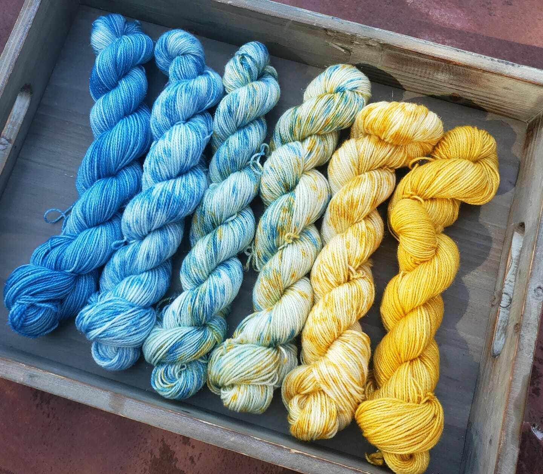 Starry Night Fade Hand Dyed Yarn