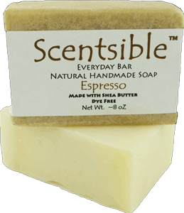 Everyday Natural Handmade Bar Soap - Espresso Scented - Made with Shea Butter - Dye Free