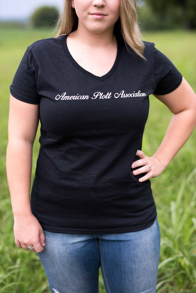 Women's Black V Neck T