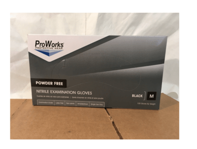 Surgical Gloves Medium Black Nitrile Powder Free 100's Proworks