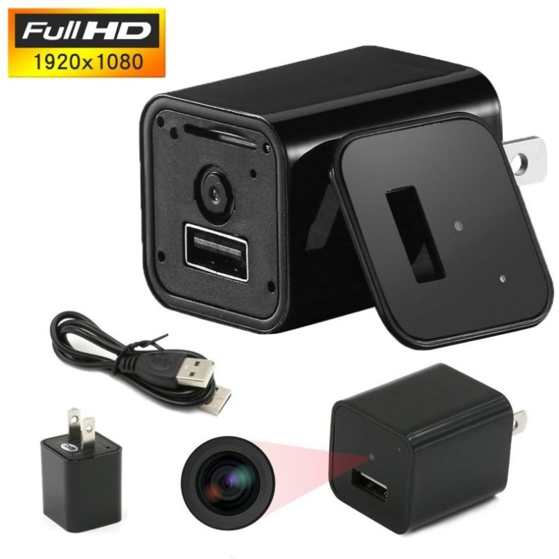 HD 1080P Mini Spy Security Camera USB Charger US Wall Plug - Black TM85007772