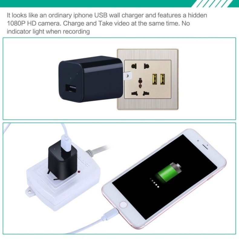 HD 1080P Mini Spy Security Camera USB Charger US Wall Plug - Black