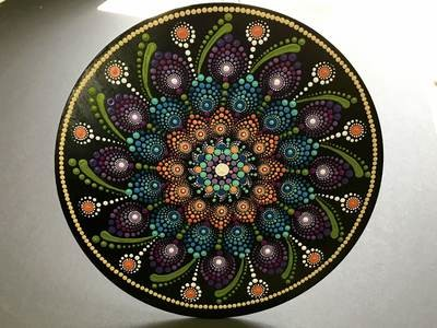 Dot Mandala Meditative Art on Metal Round with Stand and Hook Home Decor