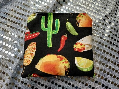 Handmade Snack bag with food safe and waterproof liner - Tacos