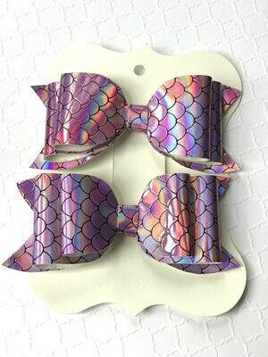 Pink Rainbow Scales Hairbows