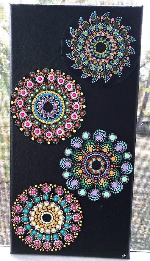 Mandala Dot Art Designs 4 CDs on Canvas