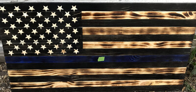 Burnt Thin Blue Line Flag