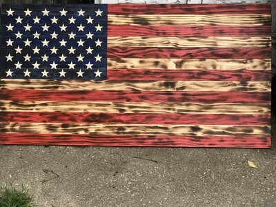Full On 'Merica Burnt Stars and Stripes Flag XL